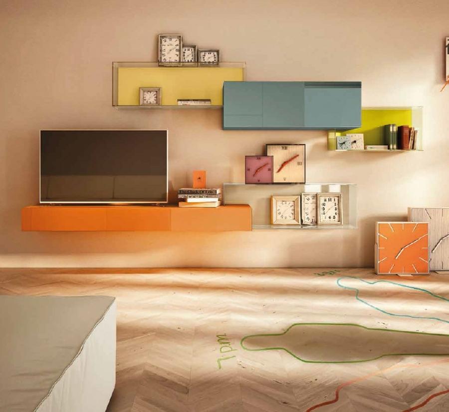 Livingroom composizione 0347 di lago pareti attrezzate for Pareti attrezzate lago