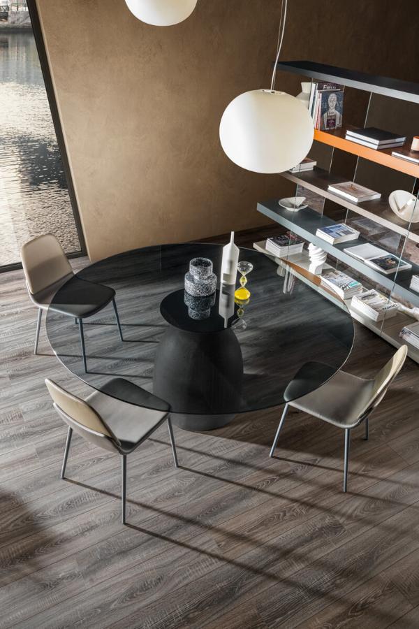 Tavolo Rotondo Vetro Design.Janeiro Glass Table Lago Round Top Dining Tables