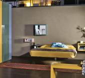 Bed Fluttua - Ecoleather 14 Olive headboard by LAGO