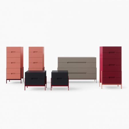 Float chest of drawers and bedside table - Novamobili